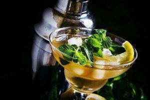 Alcoholic cocktail daiquiri with lem