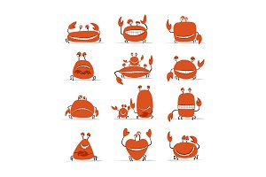 Funny crabs set, sketch for your