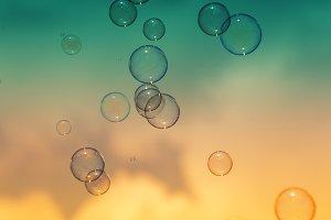 Soap bubbles, summer natural backgro