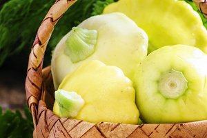 Small yellow pattypan squash or zucc
