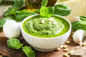 Italian pesto sauce in a white porce