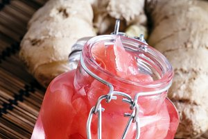 Marinated pink ginger in a glass jar