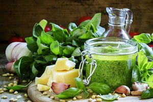 Pesto sauce in a glass jar, vintage