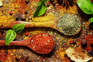 Oriental spices, food background, to