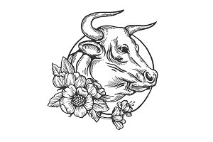 Bull animal engraving vector