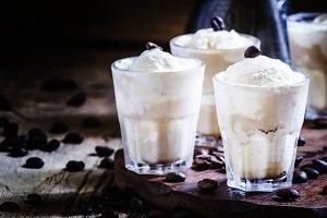 Summer refreshing dessert with coffe