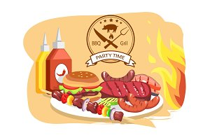 BBQ Grill, Party Time, Color Vector