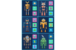 Six Robots, Icons Set, Color Vector