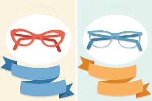 Vector Glasses & Ribbons + a Pattern