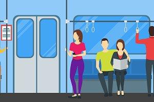 Subway Train Card Poster. Vector