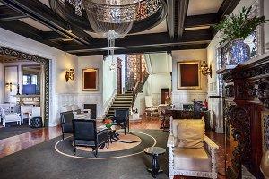 interior of classic luxury hotel lob