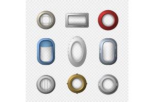 Portholes Icons Set. Vector