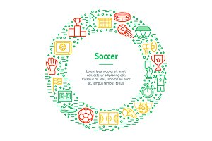 Soccer Game Thin Line Set. Vector
