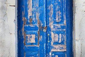 Grunge blue door