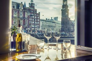 evening Amsterdam from restaurant