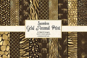 Gold Animal Print Digital Paper