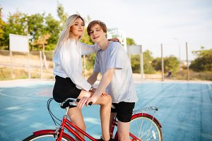 Beautiful boy and girl with blond