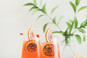 Glasses of Aperol Spritz alcohol