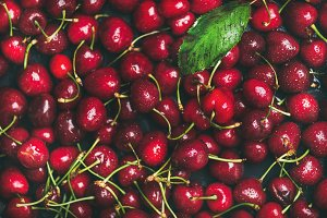 Fresh sweet cherry texture