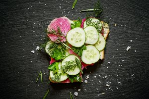 Sandwich with radish and cucumber, t