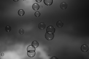 Soap bubbles against the sky, black-