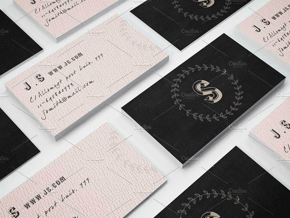 Retro monogram business card ~ Business Card Templates ~ Creative Market