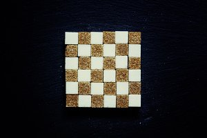 Cubes of white and brown sugar, food