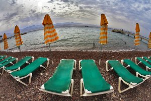 Beach plank beds on coast of Red sea