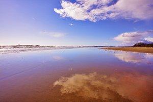 The wide sandy beach