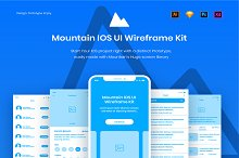 Mountain IOS UI Wireframe Kit by  in Wireframe Kits