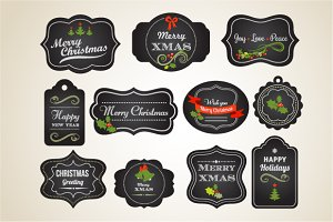 Blackboard vintage Xmas labels