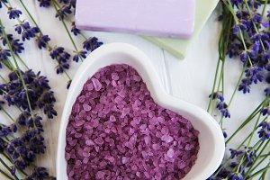 Heart-shaped bowl with sea salt, soa