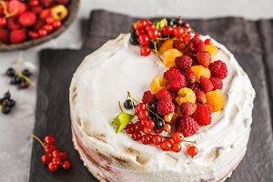 Vegan cake with coconut cream