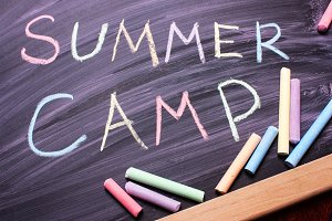 Words SUMMER CAMP written with color