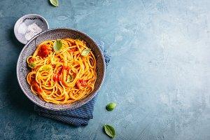 Italian pasta with tomato sauce in b