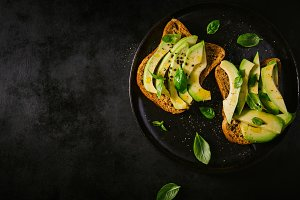 From above avocado toasts for breakf