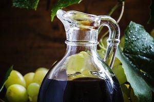 Balsamic vinegar in a glass jug, vin