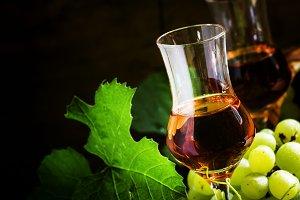Grappa, grape vodka, selective focus