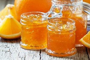 Orange jam, selective focus