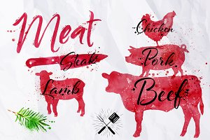 Watercolor Meat Silhoettes