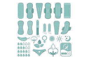 Monochrome symbols of feminine care