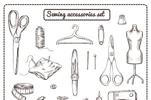 Hand Drawn Tailoring Elements Set