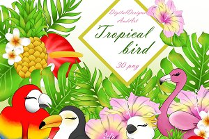 Tropical birds clipart