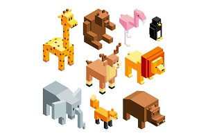 3D toy animals. Isometric pictures
