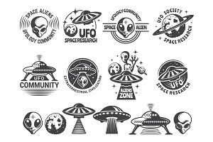 Badges set with ufo and aliens