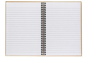 Opened notepad isolated on white