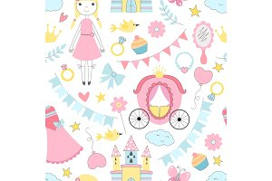 Princess seamless pattern. Various