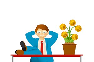 Carefree businessman with money tree
