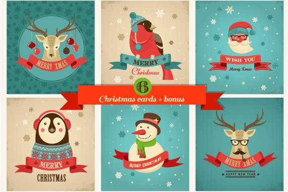 Xmas hipster greeting cards illustrations creative market pro xmas hipster greeting cards m4hsunfo