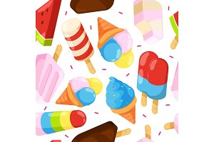 Ice cream seamless pattern. Colored